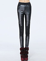 Women Solid Color / Stitching Lace / Fleece Lined Legging , Lace / PU Medium
