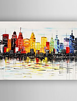 peinture à l'huile bâtiments abstraites de peinture au couteau peints à la main tendue avec encadrées prêt à accrocher