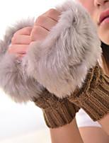 Women Winter Grid Knitwear Fingerless Warm Gloves , Casual / Cute