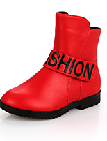 Girls' Shoes Dress / Casual Comfort / Combat Boots / Round Toe Leather Boots Black / Red / White