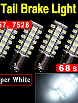 4x Super Bright White BAY15D 1157 68-SMD Car Tail Stop Brake Light LED Bulb 12V