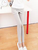 Women Solid Color Legging , Cotton Medium
