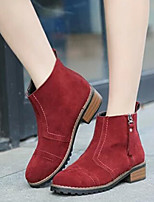 Women's New Arrival Shoes Warm Zipper Vintage Chunky Heel Comfort Boots Casual Black / Brown / Burgundy