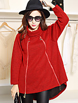 Women's Solid Red / Black / Brown Pullover , Vintage Long Sleeve