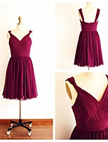 Knee-length Chiffon Bridesmaid Dress - Burgundy A-line Straps