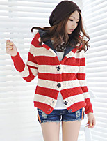 Women's Striped Red / Khaki Cardigan , Sexy / Casual Long Sleeve