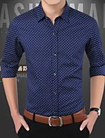 Men's Long Sleeve Shirt , Cotton Casual / Work / Formal / Plus Sizes Print Slim Shirt