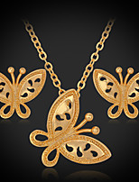 Instyle 18K Chunky Gold Plated Butterfly Pendant Earrings High Quality