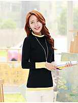 Women's Color Block Blue / Pink / Black Pullover , Sexy / Casual Long Sleeve