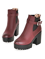 Women's Shoes Leatherette Chunky Heel Combat Boots Boots Casual Brown / Beige / Burgundy