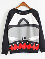 Women's Print Black Hoodies , Casual Round Neck Long Sleeve