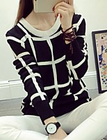 Women's Preppy Style Fashion Plaid Round Long Sleeve Pullover
