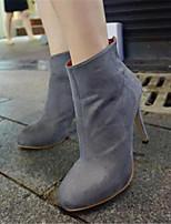 Zapatos de mujer - Tacón Stiletto - Punta Redonda - Botas - Casual - Semicuero - Negro / Marrón / Gris
