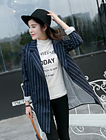 Women's Striped Blue Coat , Casual / Party / Work Long Sleeve Polyester