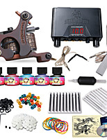 Beginner Tattoo Machine Kit 1 Guns 5 Inks Needles Power Supply