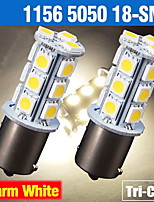 2 X Warm White 1156 BA15S 18-SMD 5050 Turn Signal Backup Reverse LED Light bulbs