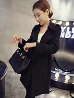 Women's Solid Black Trench Coat , Casual / Cute / Party Long Sleeve Cotton