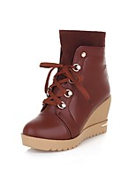 Women's Shoes Wedge Heel Fashion Boots / Comfort Boots Outdoor / Office & Career / Casual Black / Blue / Brown / Yellow