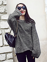 Women's Korea Style Loose Batwing Sleeve Solid Gray Pullover