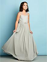 Vloer Lengte Doek Junior bruidsmeisjesjurk - Zilver A-Lijn V-hals
