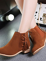Women's Shoes Korean Style Frosted Tassels Chunky Heel Comfort Boots Casual Black / Brown / Red