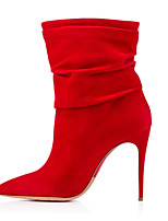 Women's Shoes Fleece Stiletto Heel Fashion Boots / Bootie Boots Office & Career / Party & Evening / Dress Black / Red