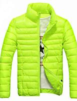 Men's Regular Down Coat , Chiffon / Feather Pure Long Sleeve