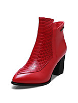 Women's Shoes Leather Stiletto Heel Fashion Boots / Pointed Toe Boots Office & Career / Casual Black / Red