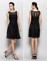 Knee-length Lace Bridesmaid Dress - Black A-line Scoop