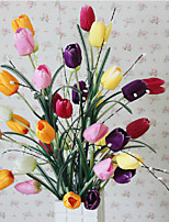 A Bunch Of 6 Head Of  Polyester Tulips Artificial Flowers