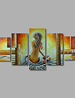 Hand-Painted Oil Painting on Canvas Wall Art  Nude Girls Back Beige Abstract Five Panel Ready to Hang