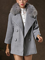 Women's Solid Gray Coat , Vintage / Work Long Sleeve Tweed / Others