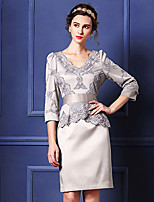Sheath/Column Mother of the Bride Dress - Silver / Fuchsia / Dark Navy Knee-length 3/4 Length Sleeve Polyester