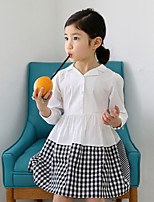 Girl's White Dress , Check Cotton Winter / Fall