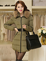 Women's Solid Red / Green Down Coat , Casual Hooded Long Sleeve