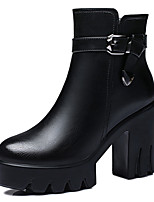 Women's Shoes Synthetic Chunky Heel Snow Boots / Fashion Boots Office & Career / Party & Evening / Casual Black / Red