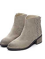 Women's Shoes Leather Chunky Heel Fashion Boots / Round Toe Boots Dress / Casual Brown / Beige