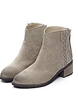 Damenschuhe - Stiefel - Kleid / Lässig - Leder - Blockabsatz - Rundeschuh / Modische Stiefel - Braun / Beige