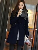 Women's Solid Blue Coat , Casual Long Sleeve Cotton / Fur / Spandex