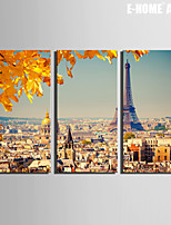 E-HOME® Stretched Canvas Art Urban Landscape Decoration Painting  Set of 3