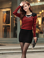 Women's Striped / Patchwork Red / White / Orange Dress , Sexy / Casual Long Sleeve
