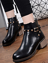 Women's Shoes  Chunky Heel Round Toe Boots Casual Black / Brown / Purple / Burgundy