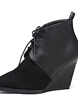 Women's Shoes  Wedge Heel Fashion Boots / Pointed Toe Boots Outdoor / Casual Black / Green