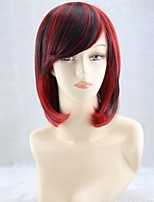 Woman With Short Straight Hair Fashion COS The Gradient Black Mixed Red Cosplay Wig