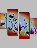 Hand-Painted Oil Painting on Canvas Wall Art Modern Flowers Pink Magnolia Three Panel Ready to Hang
