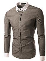 Men's Long Sleeve Shirt , Cotton Blend Casual / Work Striped / Pure