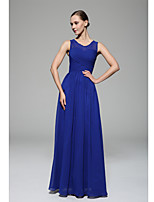 Floor-length Chiffon Bridesmaid Dress - Royal Blue A-line Scoop