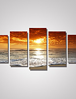 5 Panels Sunrise Seascape Picture Print on Canvas Unframed
