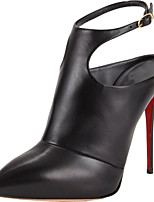 Women's Shoes Leather Stiletto Heel Heels / Pointed Toe Heels Wedding / Office & Career / Party & Evening Black