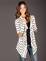 Women's Striped White Cloak/Capes , Sexy / Vintage Long Sleeve Cotton